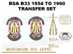 BSA B33 1954 to 1960 Transfer Decal Set